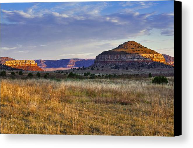Black Mesa Canvas Print featuring the photograph Wedding Cake Ranch by Charles Warren