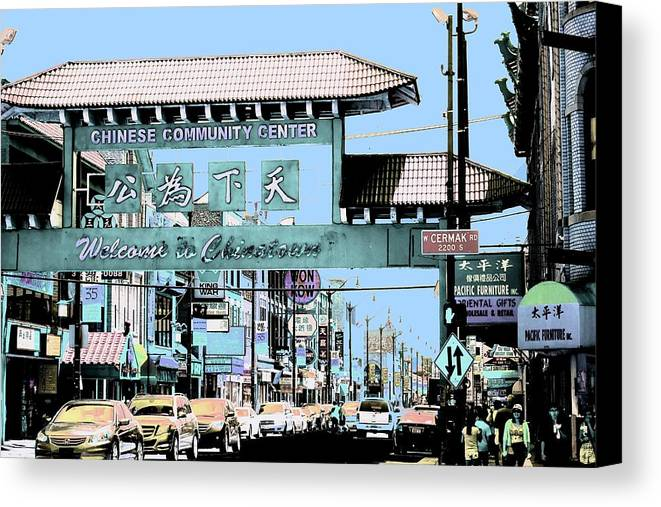 Chinatown Canvas Print featuring the photograph Welcome To Chinatown Sign Blue by Marianne Dow