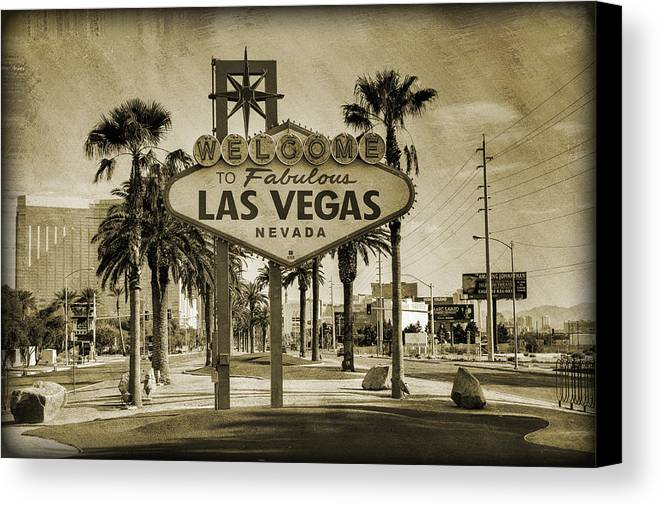 Las Canvas Print featuring the photograph Welcome To Las Vegas Series Sepia Grunge by Ricky Barnard