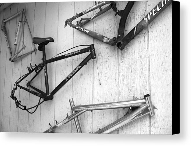 Mountain Bike Frames Canvas Print featuring the photograph Well Worn Mountain Bike Frames by Gray Artus