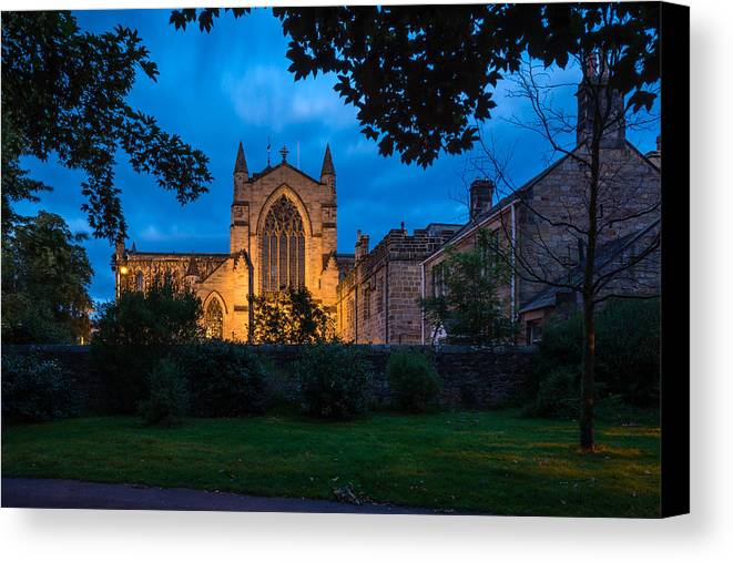 Northumberland Canvas Print featuring the photograph West Side Of Hexham Abbey At Night by David Head