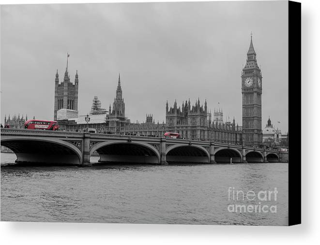 Westminster Bridge Canvas Print featuring the photograph Westminster Bridge In London by Arild Lilleboe
