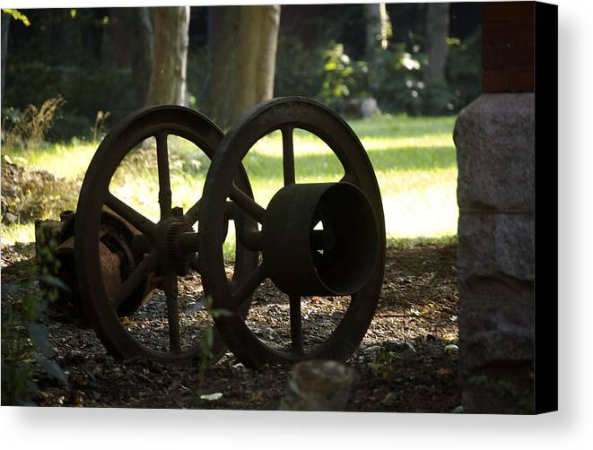 Wheel Canvas Print featuring the photograph Wheels Of War-spanish American War Artifacts by Faith Harron Boudreau