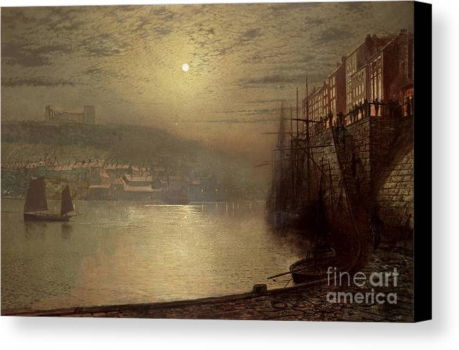 Whitby Canvas Print featuring the painting Whitby by John Atkinson Grimshaw