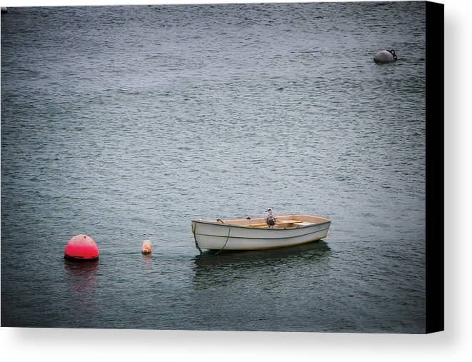 Boat Canvas Print featuring the photograph White Rowboat And Seagull by Robert Anastasi
