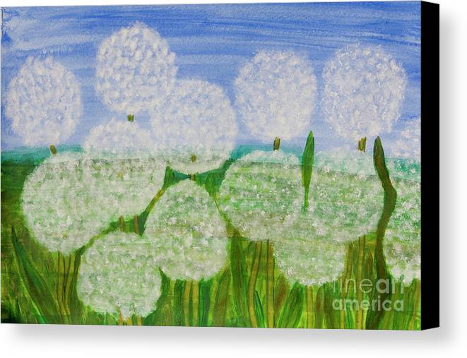 Dandelion Canvas Print featuring the painting White Sunflowers, Painting by Irina Afonskaya