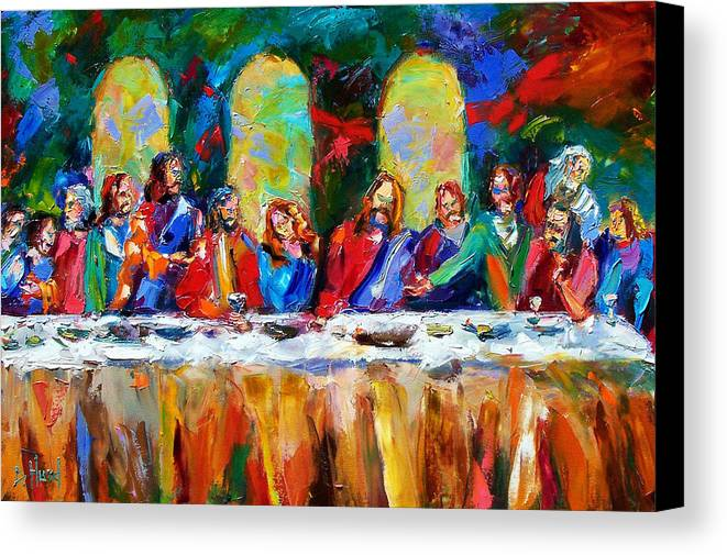 Last Supper Canvas Print featuring the painting Who Among Us by Debra Hurd