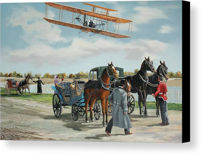 Aircraft Art Canvas Print featuring the painting Wilbur Wright In France by Kenneth Young