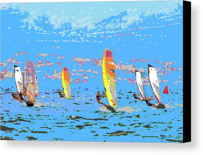 Charlie Shoup Canvas Print featuring the mixed media Windsurfing by Charles Shoup