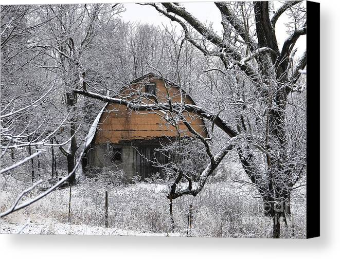 Barn Canvas Print featuring the photograph Winter Barn Iv by Frank Muller