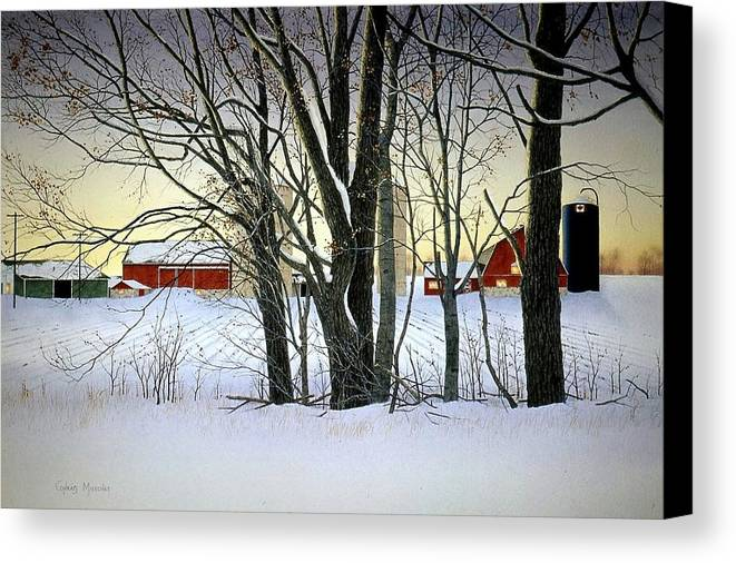 Rural Canvas Print featuring the painting Winter Evening On The Farm by Conrad Mieschke