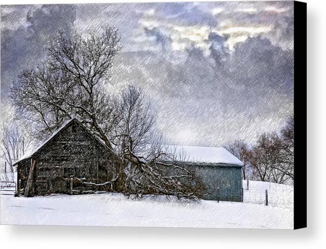 Winter Canvas Print featuring the photograph Winter Farm by Steve Harrington