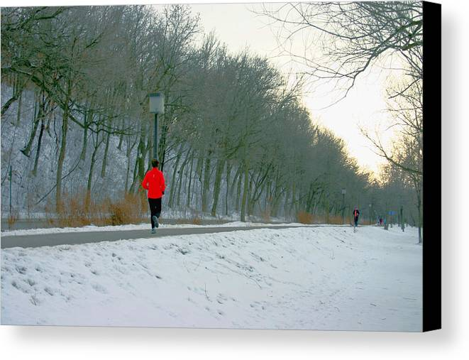 Jogger Canvas Print featuring the photograph Winter Run by Laurie Prentice