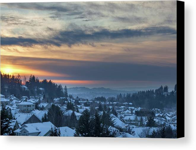Happy Valley Canvas Print featuring the photograph Winter Snow At Sunset In Happy Valley Oregon by Jit Lim