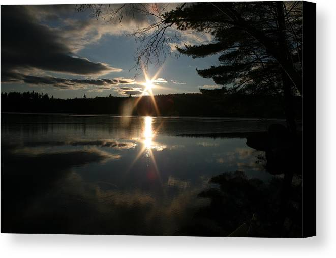 Maine Canvas Print featuring the photograph Winter Sunset by Jeff Porter