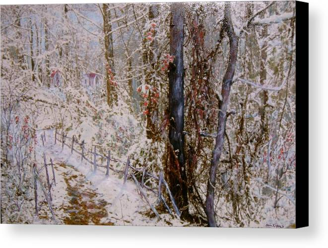 Snow; Trees Canvas Print featuring the painting Winter Wonderland by Ben Kiger