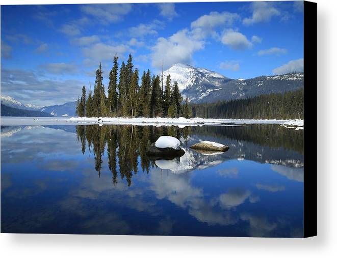Winters Mirror Canvas Print featuring the photograph Winters Mirror by Lynn Hopwood