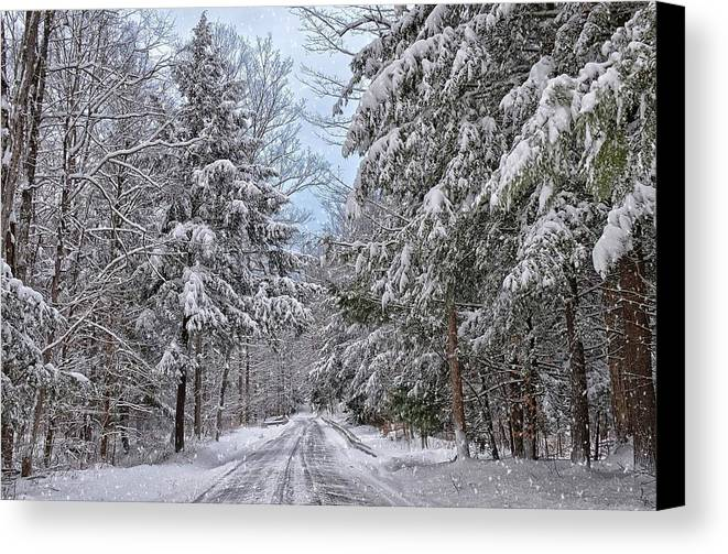 Wellsboro Winter Scene Landscape Countryroad Snow Canvas Print featuring the photograph Wintery Country Road by Bernadette Chiaramonte