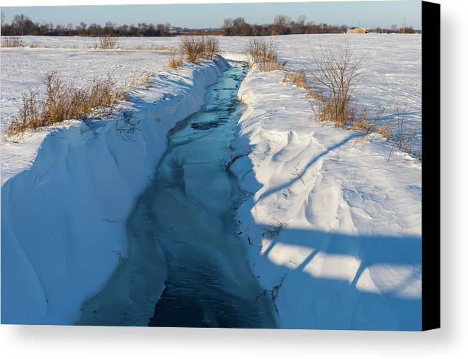 Agriculture Canvas Print featuring the photograph Wintery Creek by Rich Mengel