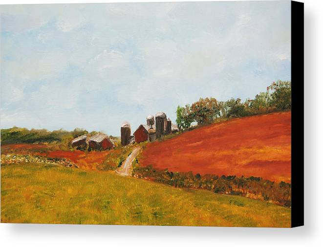 Konkol Canvas Print featuring the painting Wisconsin Farm by Lisa Konkol