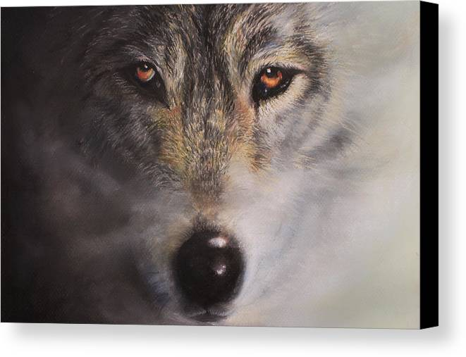 Wolf Canvas Print featuring the painting Wolfrick by Linda Woodward
