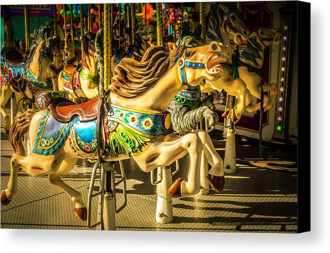 Magical Carousels Canvas Print featuring the photograph Wonderful Horse Ride by Garry Gay
