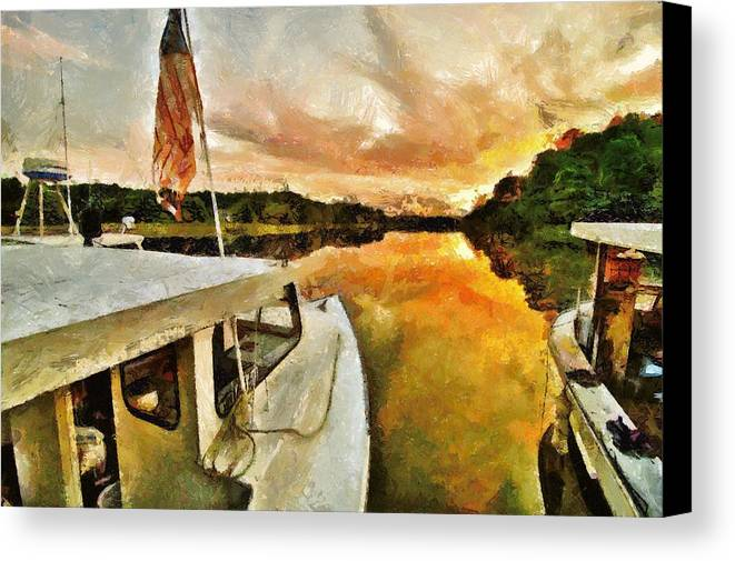 Boats Canvas Print featuring the photograph Workboats On San Damingo Creek by Jim Proctor