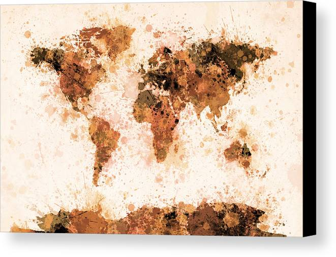 Map Of The World Canvas Print featuring the digital art World Map Paint Splashes Bronze by Michael Tompsett