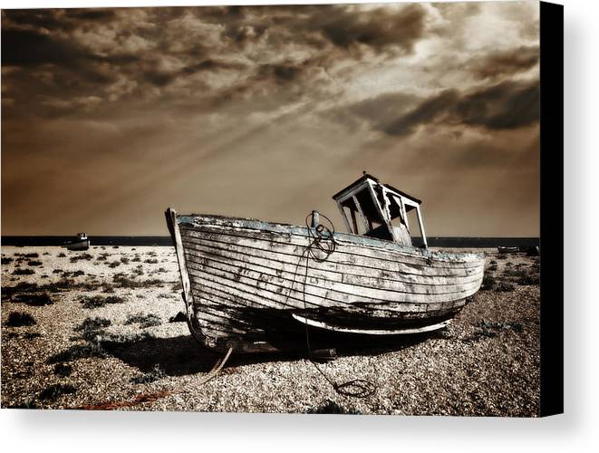 Boat Canvas Print featuring the photograph Wrecked by Meirion Matthias
