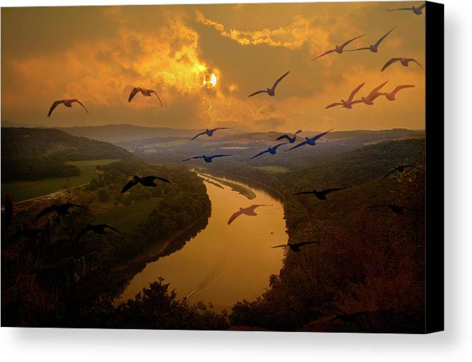 Susquehanna River Canvas Print featuring the photograph Wylausing Rocks Overlook by David Simons