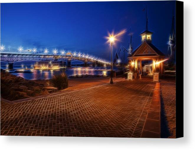 Yorktown Canvas Print featuring the photograph Yorktown Waterfront At Night by Amy Jackson