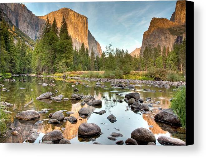 Horizontal Canvas Print featuring the photograph Yosemite Valley Reflected In Merced River by Ben Neumann