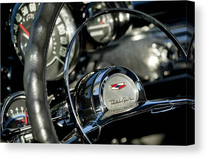 1957 Chevrolet Belair Canvas Print featuring the photograph 1957 Chevrolet Belair Steering Wheel by Jill Reger