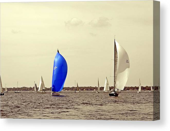 2014 Bells Beer Bayview Mackinac Sailboat Race Canvas Print featuring the photograph To Life by Randy J Heath