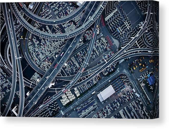 Ariel View Of Honmokufuto Yokohama At Canvas Print