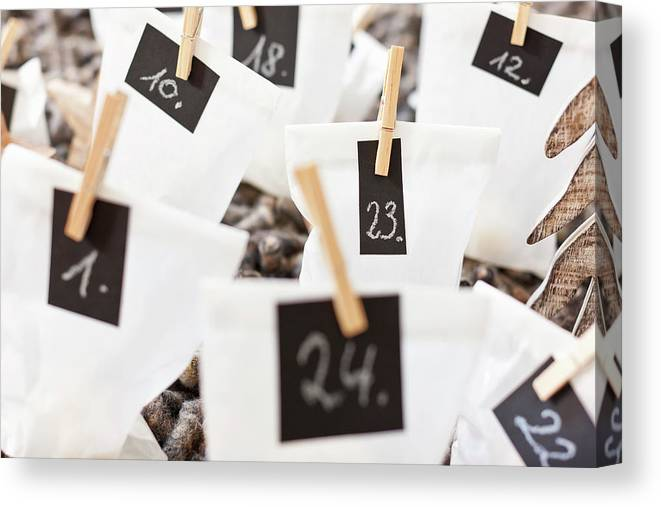 Braunschweig Canvas Print featuring the photograph Close Up Of Numbered Bags by Nils Hendrik Mueller