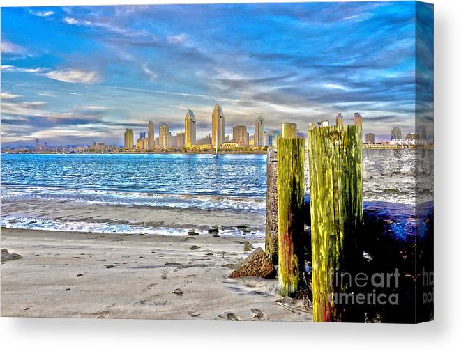 Downtown Canvas Print featuring the photograph Down Town Sunset by Baywest Imaging