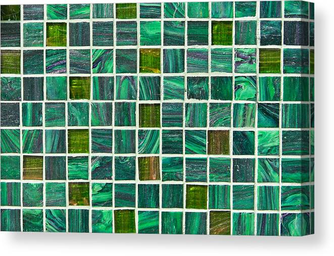 Backdrop Canvas Print featuring the photograph Green Tiles by Tom Gowanlock