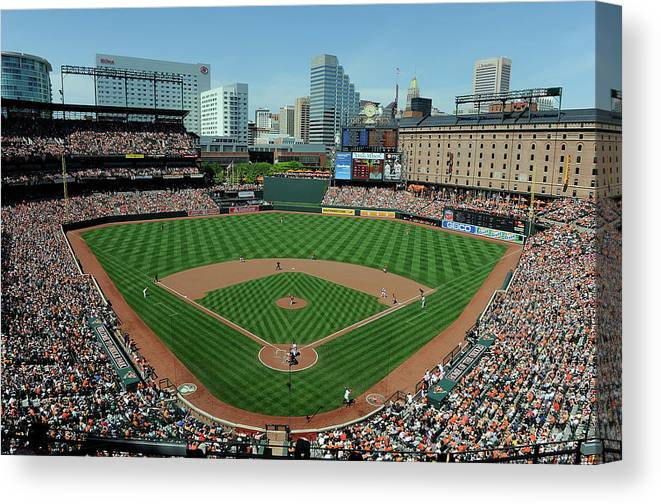 American League Baseball Canvas Print featuring the photograph Houston Astros V Baltimore Orioles by Greg Fiume