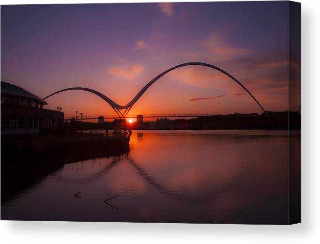 Infinity Bridge At Night Canvas Print featuring the photograph Infinity by Anthony Melendrez