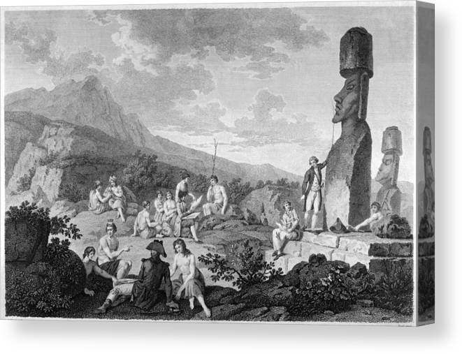 Perouse Canvas Print featuring the drawing La Perouse Visits Easter Island by Mary Evans Picture Library