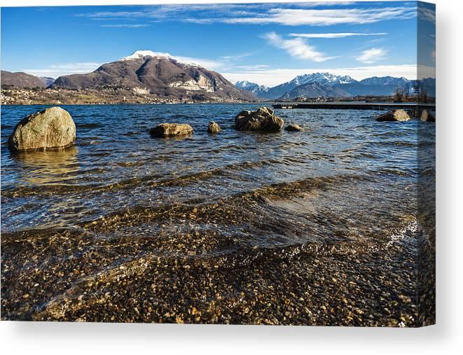 Lake Canvas Print featuring the photograph Lago Di Pusiano by Alfio Finocchiaro