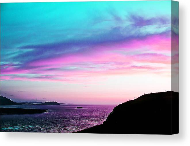 Landscape Canvas Print featuring the painting Landscape - Sunset by Alex Art and Photo