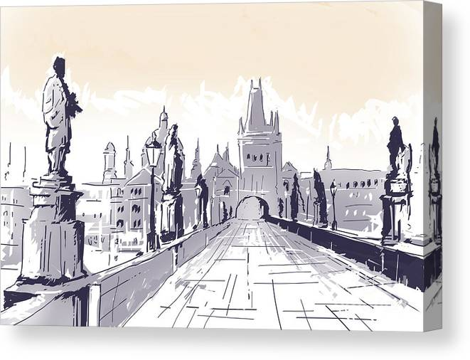 Lesser Town Bridge Tower Drawing Czech Republic Canvas Print