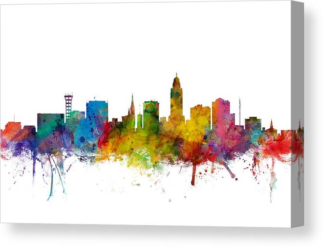 City Canvas Print featuring the digital art Lincoln Nebraska Skyline by Michael Tompsett