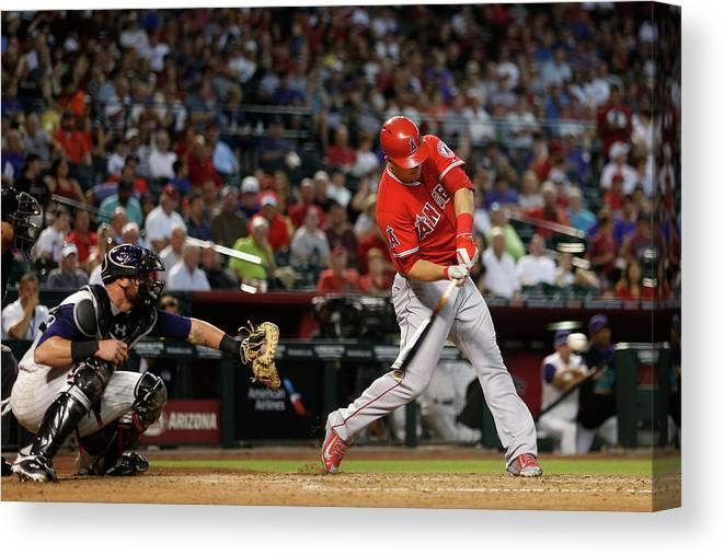 People Canvas Print featuring the photograph Los Angeles Angels Of Anaheim V Arizona 1 by Christian Petersen