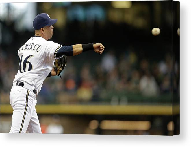 Second Inning Canvas Print featuring the photograph Los Angeles Dodgers V Milwaukee Brewers 1 by Mike Mcginnis
