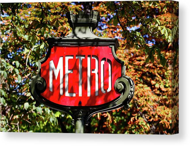 Photography Canvas Print featuring the photograph Metro Sign, Paris, France by Panoramic Images