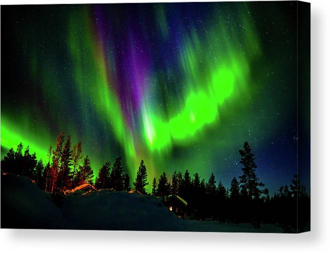 Photography Canvas Print featuring the photograph Northern Lights, Lapland, Sweden by Panoramic Images