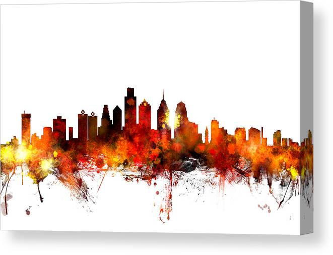 Philadelphia Canvas Print featuring the digital art Philadelphia Pennsylvania Skyline 1 by Michael Tompsett
